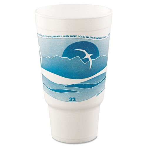 Dart 32AJ20H Horizon Hot/Cold Foam Drinking Cups, 32oz, Teal/White, 16 Per Bag (Case of 25 Bags) (32 Ounce Foam)