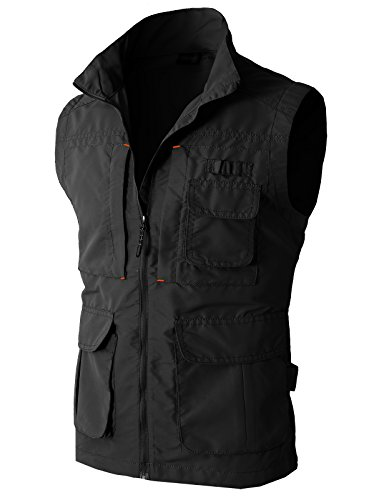 H2H Mens Casual Work Utility Hunting Travels Sports Vest With Multiple Pockets Black US L/Asia XL (KMOV081) (Black Hunting Vest)