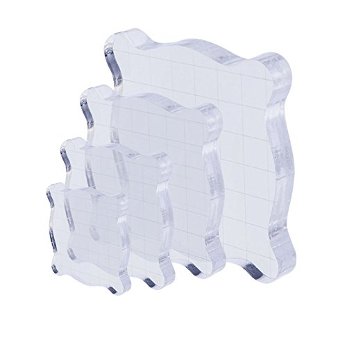 Cavetee 4 Sets Acrylic Stamping Blocks Clear Acrylic Block for Scrapbooking Crafts Making, Transparent, 4 Sizes by Cavetee