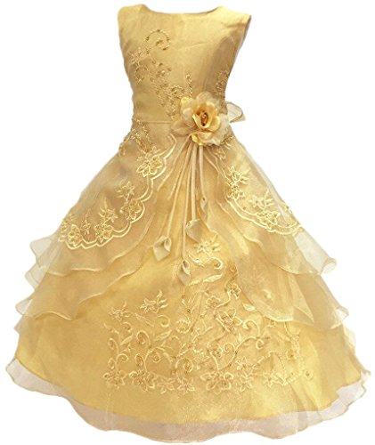 Shiny Toddler Little Girls Embroidered Beaded Flower Girl Birthday Party Dress with Petticoat 7t-8t(Tag 130),Golden -