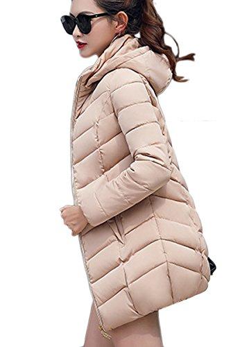 Yming Manteau Matelassée Femmes Beige D'hiver Capuche Longue Parka Avec rr7q6n