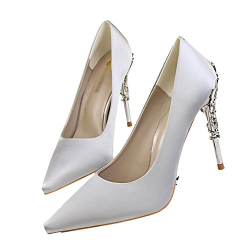 fereshte Women's Sexy Pointed-Toe Silk and Satin Metal Heel Slip-On High Heels Stilettos Dress Pump Silver Gray vtt7dUq