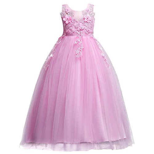 Lace Flower Girls Bridesmaid Wedding Party Birthday Princess Pageant Formal Tulle Long Dress Ball Gown Baby Kids 5-14T Pink 8-9 Years]()