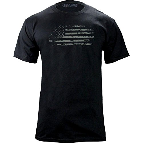 Distressed American Flag T-Shirt (L, Black/Glow)