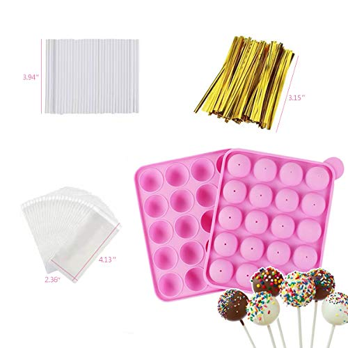 Akingshop 20 Cavity Silicone Cake Pop Mold Set - Lollipop Mold with 60Pcs Cake Pop Sticks, Candy Treat Bags, Gold Twist Ties, Great For Lollipop, Hard Candy, Cake Pop and Chocolate