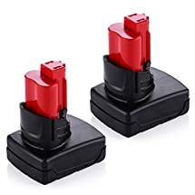 Powerextra 2 Pack 4500MAh 12V Lithium-ion Cordless Tool Replacement Battery For Milwaukee M12 Milwaukee 48-11-2411 REDLITHIUM 12-Volt Cordless Milwaukee Tools Milwaukee 12V Lithium-ion Battery