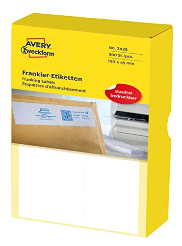 Avery Zweckform 3428 Franking Labels (for Frama, 150 x 50 mm Matt Paper Pack of 500 White ()