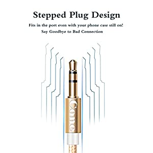 Aux Cable / Aux Cord / Audio Cable for Headphone, (1-Pack 3.3Ft)Cone 3.5mm Nylon Male to Male Auxiliary Headphone Jack Adapter for iPhone, Beats, Home Stereo and Other Devices(Gold)