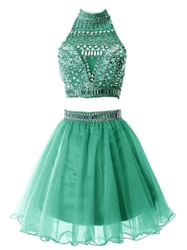 - Snowskite Women's Short Two Pieces Beading Tulle Homecoming Prom Dress Green 16