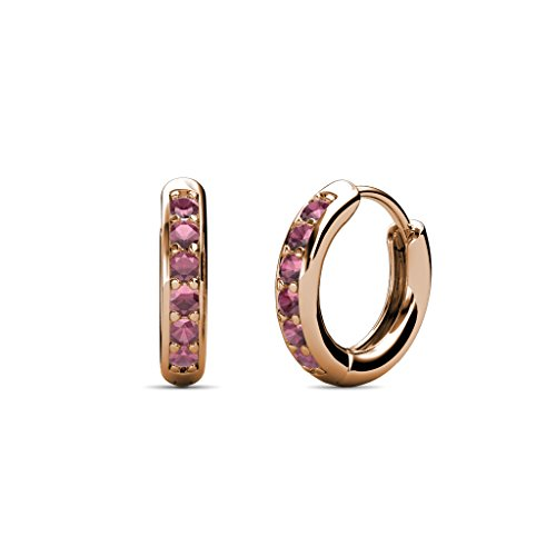 TriJewels Petite Rhodolite Garnet Huggies Hoop Earrings 0.25 Carat tw in 14K Rose Gold