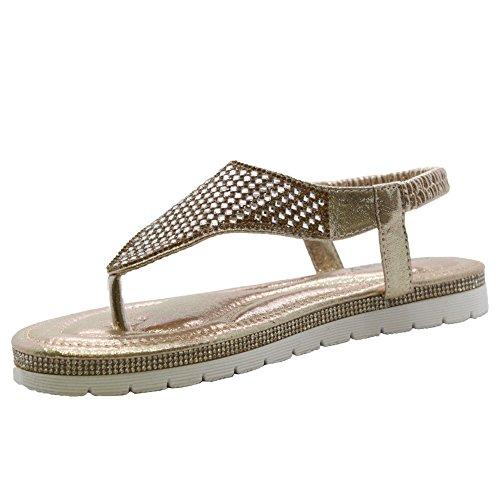 In Zeppa Toe Comfy Styles 8 Punta Cinturino Post Oro 3 Con Sandalo Donna Da Taglia Piatta Scarpe Saute Diamantato aUwYqzY