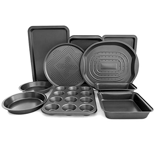 Giantex 10-Piece Nonstick Bakeware Set, Round and Square Baking Pans, Baking Sheets, Chip and Pizza Pan, Crisper Pan, Roasting Trays, 12-Cup Muffin and Loaf Pans, Cookie Sheet, Carbon Steel Baking Set