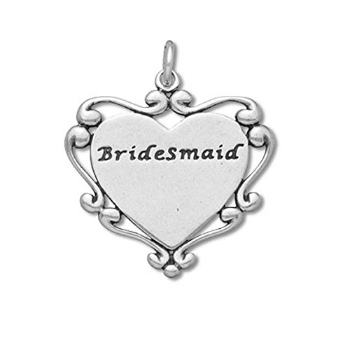 (Sterling Silver Bridesmaids in Engraveable Heart Wedding Charm Item #51534)