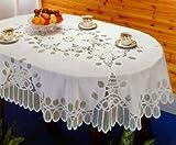 """Battenberg Vinyl Lace Tablecloth 60""""x90"""" Oval"""