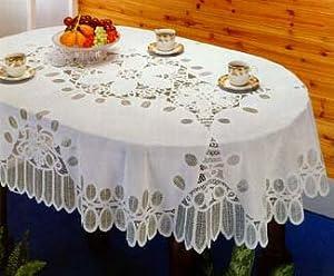 Charming Battenberg Vinyl Lace Tablecloth 54u201dx72u201d Oval