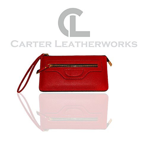 Carter Leatherworks Rodeo Womens PU Vegan Leather Wristlet Wallet Clutch Purse Fits Any Smartphone (Red) by Carter Leatherworks
