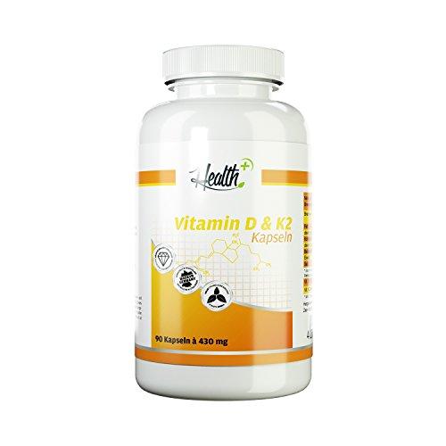 HEALTH+ Nahrungsergänzung Wochendosis VITAMIN D & K2 hochdosiert 90 Kapseln a 430 mg mit 5000 IE Vitamin D3 und 50 mcg Vitamin K2 MADE IN GERMANY