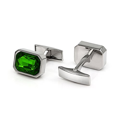 (Kemstone Green Cubic Zirconia Crystal Cufflinks Silver Plated for Men)