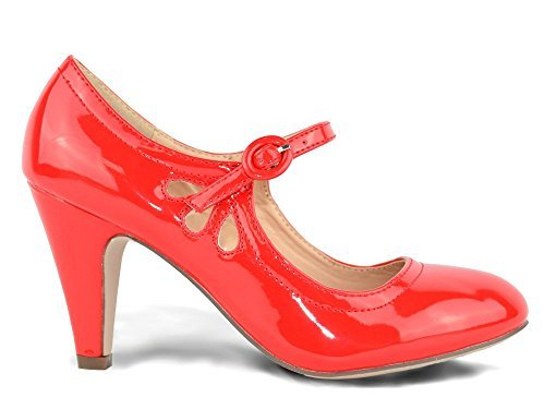 Chase & Chloe Kimmy-21 Women's Round Toe Pierced Mid Heel Mary Jane Style Dress Pumps (8 B(M) US, Red Patent) ()