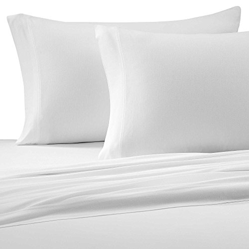 Brielle Cotton Jersey Knit (T-Shirt) Sheet Set, Twin XL, White ()