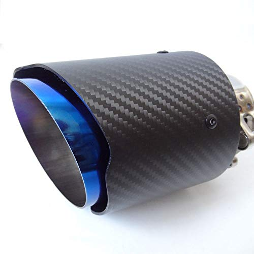 blue stainless steel Inlet 63mm Outlet 114mm 4.5 Outlet glossy Carbon Fiber Exhaust Pipe Muffler Tips-straight edge Inlet 54//57//60//63//66//71//76//80mm Outlet 114mm