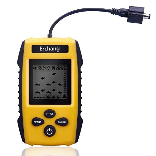 Erchang Portable Fish Finder, Fishfinder Tackle Fishes with Wired Sonar Sensor Alarm Transducer and LCD Display Depth Finders for Fishing
