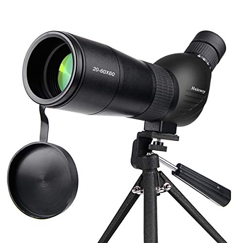 Spotting Scope,Huicocy 20-60x60mm Zoom 39-19m/1000m Fully Multi Coated Optical Lens Fogproof and Movably Eyepiece Rubber Design Telescope with Quick Smartphone Mount Kit and Tabletop Tripod for Target (Best Spotting Scope For Target Shooting)