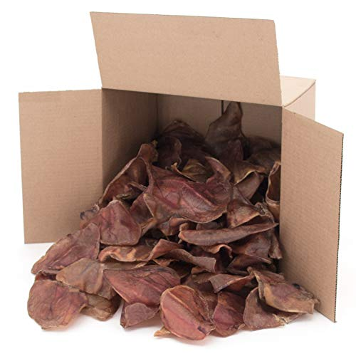 GigaBite Whole Pig Ears for Dogs (100 Pack) - USDA & FDA Certified All Natural Pork Ear Dog Treat by Best Pet Supplies, Inc.