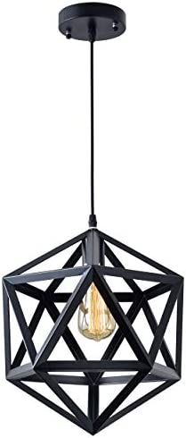 Vintage Modern Industrial Pendant Light, Industrial Polygon Geometric Light Simple Iron Bar Welding Design Hanging Light Fixture 60W Max No Plug-in, No Bulb Included