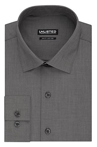 Kenneth Cole REACTION Men's Unlisted Slim Fit Solid Spread Collar Dress Shirt, Graphite, 16