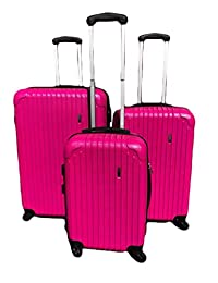 Archibolt Canada 3-Piece Luggage Set ABS - Large, Medium and Carry On Suitcase with Wheels, Lock, and Telescopic Handle (Pink)