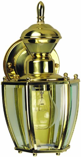 Heath Zenith HZ-4170-PB Motion-Activated Six-Sided Carriage Light, Polished Brass with Beveled Glass by Heath Zenith