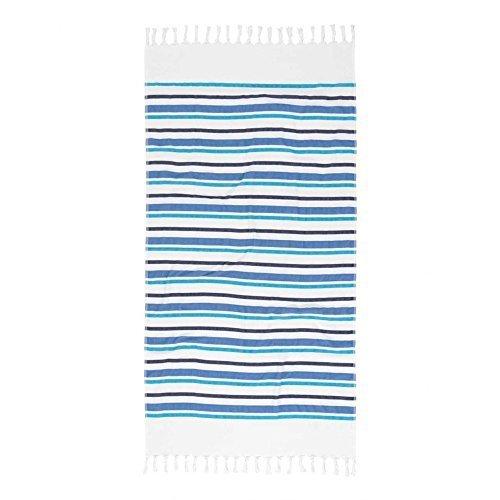 DES Hammam Badetuch IZE Stripes Marke Esprit Saunatuch mit Fransen gestreift grau-weiß 14641 (Blau)