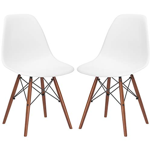 Poly and Bark Vortex Modern Mid-Century Side Chair with Wooden Walnut Legs for Kitchen, Living Room and Dining Room, White (Set of 2)