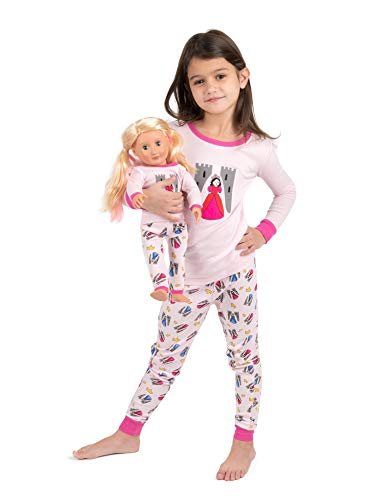 Leveret Kids Pajamas Matching Doll & Girls Pajamas 100% Cotton Pjs Set (Princess,Size 3 Toddler)