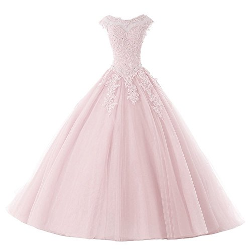 GURNALL Sweet 16 Dress Sequins Crystal Long Ball Gown Quinceanera Dresses Pink Size 0 by GURNALL