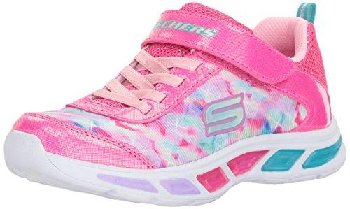 Skechers Kids Girls' Litebeams-Dance N'Glow Sneaker,Neon Pink/Multi,
