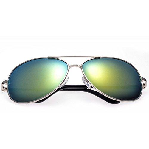 Moda lente plata Diseño Sol Para YUFENRA Mujer de Lente Completo Aviador Para de marco Hombre dorado Antirreflejante con y UV400 Gafas Retro de xzzPgqR1wA
