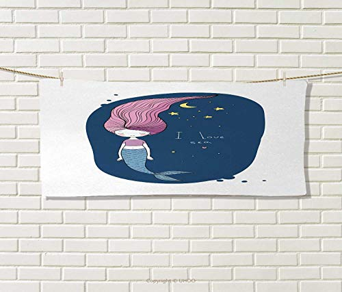 Anniutwo Mermaid,Travel Towel,I Love Sea Theme Fantastic Cartoon Girl Long Pink Hair Stars Moon,Quick-Dry Towels,Blue Pink Yellow Size: W 14'' x L 27.5'' by Anniutwo