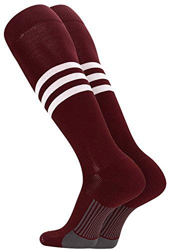 TCK Performance Baseball/Softball Socks (Maroon/White, Medium)