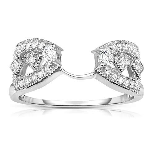 NATALIA DRAKE 14KT White Gold 1/4cttw Genuine Diamond Wrap Guard Bridal Ring Only (SZ 7) ()