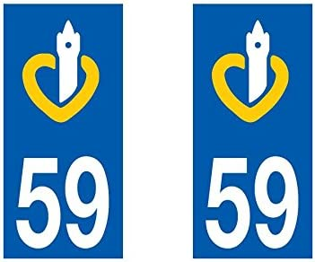 Nord Paire Sticker immatriculation 59