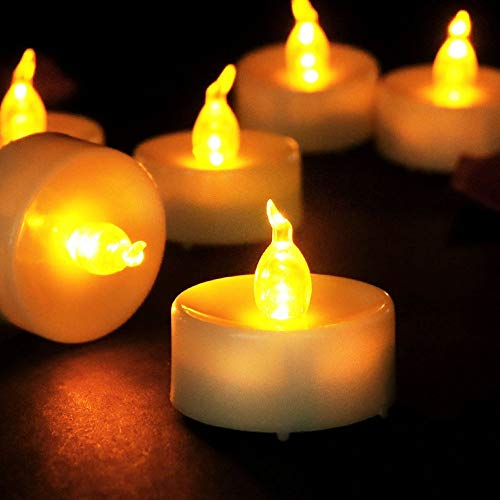 Flicker Tea Lights (Flameless LED Tea Lights, Realistic and Bright Flickering Bulb Battery Operated Electric Fake Candle for Wedding,Table,Gift,Outdoor & Festival Celebration,Pack of)