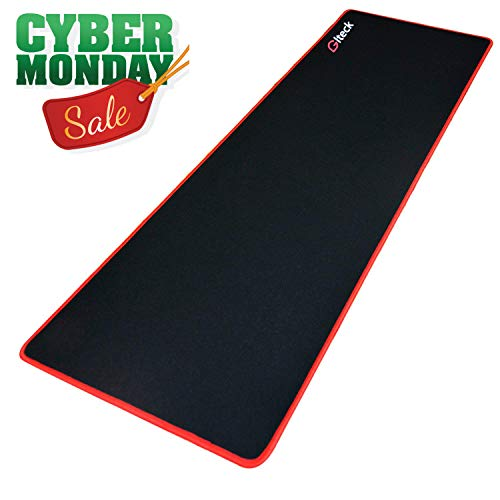 "GLTECK Large Gaming Mouse Pad XXL/Extended Mat Desk Pad 36""x12"" Mousepad Long Non-Slip Rubber Mice Pads Stitched Edges with Portable Bag"
