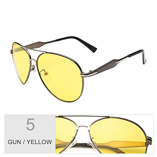Yellow De Sol Gun Fresco A Visibilidad TIANLIANG04 Hombres Polarizadas Aviador Lentes Nocturna Los Gafas Clásicas Guiar Gun Gris Piloto Gafas Gafas Para 5REqEwxn1