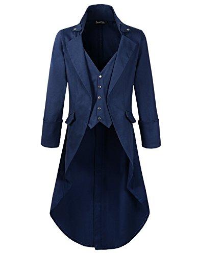 - DarcChic Mens Gothic Tailcoat Jacket Black Steampunk VTG Victorian High Collar Coat (XXXL, Blue)