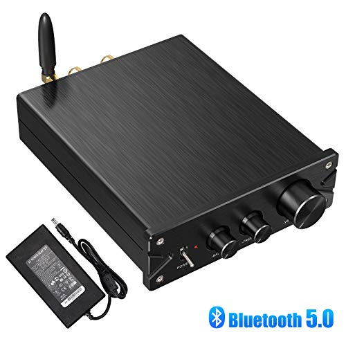 Neoteck Bluetooth 5.0 Stereo Audio Amplifier Receiver 2 Channel Mini Hi-Fi Class D Integrated Amp Digital Power Amplifier with Bass and Treble Control for Home Speakers 100W + 100W