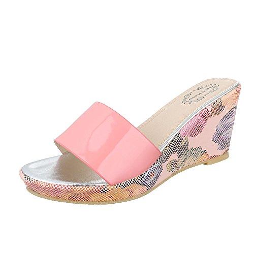 Ital-Design Pantoletten Damenschuhe Keilabsatz/Wedge Keilabsatz Sandalen & Sandaletten Rosa