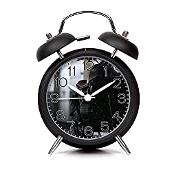 GIRLSIGHT Alarm Clock for Kids Child Retro Silent Pointer Alarm Clock Strong Bedside Tables Cute Loud Alarm Light House Decorations 221.Close-Up Parked Motorcycle(Black)