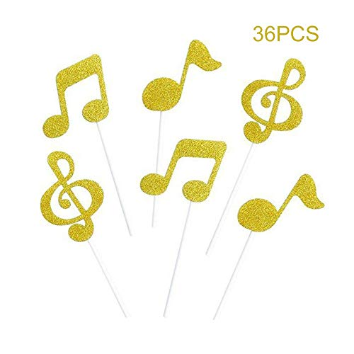 Glitter Music note Cupcake Toppers Gold Party Musical Cake Decorations for Birthday | Baby Shower | Wedding | Engagement | Graduation Party Dessert Decorations Topper, Pack of ()